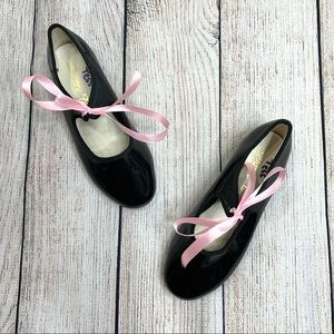 Dance Class Girls Black Patent Leather Tap Shoes